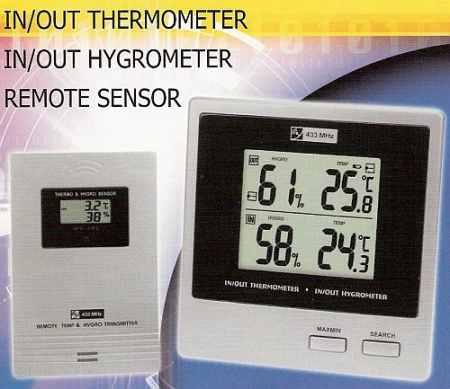 Digitális kétcsatornás, vezeték nélküli hő-és páramérő