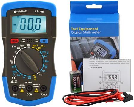 HP-33D, Digitális multiméter, VDC, VAC, ADC, ellenállás, dióda, tranzisztor hFE teszt