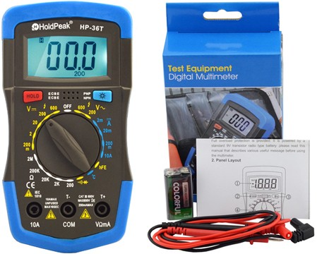 HP-36T, Digitális multiméter, VDC, VAC, ADC, ellenállás, hőmérséklet, dióda, hFE, szakadás