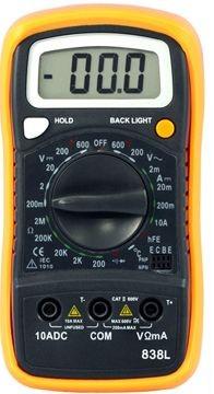 HP-838L, Digitális multiméter, VDC, VAC, ADC,ellenállás,hőmérséklet,dióda,szakadás,tranzisztor hFE
