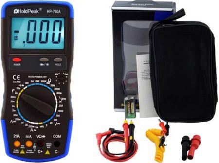 HP-760A, Digitális multiméter, VAC, VDC, AAC, ADC, ellenállás, kapacitás, dióda, hFE, szakadás