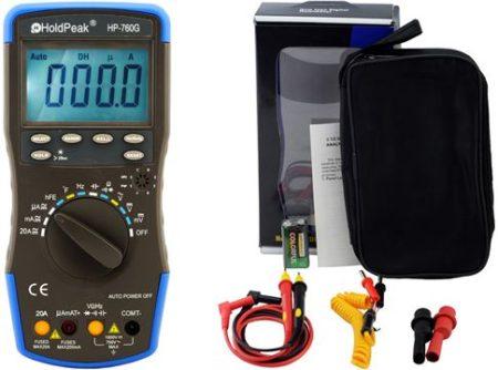 HP-760G, Digitális multiméter, VDC,VAC,ADC,AAC,frekvencia,kapacitás,hőmérséklet,hFE,dióda,szakadás