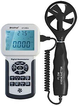 HP-856A, Digitális szélerősség, légáramlás és hőmérsékletmérő, 0-45m/sec, -10°C-45°C, USB
