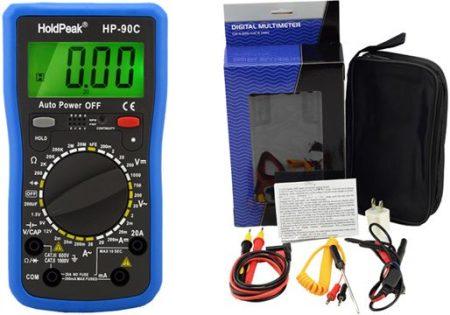HP-90C, Digitális multiméter, VDC,VAC,ADC,AAC, ellenállás, kapacitás,dióda,hFE,szakadás,elemteszt